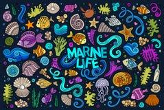 Sistema colorido de objetos de la vida marina Imagen de archivo