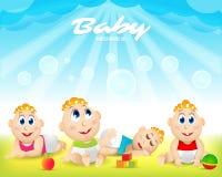 Sistema colorido del bebé Patio Modelo para el folleto de publicidad Aliste para su mensaje El bebé mira para arriba con interés ilustración del vector