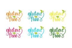 Sistema colorido del bio eco para la compañía, produciendo productos libres del gluten ilustración del vector