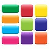 Sistema colorido del botón redondeado cuadrado y rectangular Vector stock de ilustración