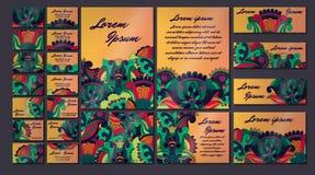 Sistema colorido del ejemplo de la tarjeta de la invitación del saludo Colección del concepto del diseño floral Imágenes de archivo libres de regalías