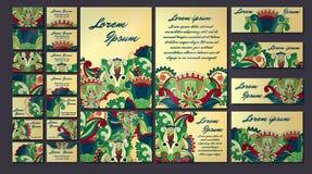 Sistema colorido del ejemplo de la tarjeta de la invitación del saludo Colección del concepto del diseño floral Fotos de archivo libres de regalías
