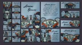 Sistema colorido del ejemplo de la tarjeta de la invitación del saludo Colección del concepto del diseño floral Fotos de archivo