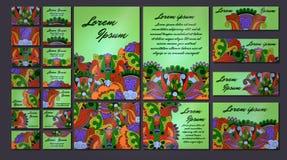 Sistema colorido del ejemplo de la tarjeta de la invitación del saludo Colección del concepto del diseño floral Foto de archivo libre de regalías
