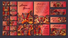 Sistema colorido del ejemplo de la tarjeta de la invitación del saludo Colección del concepto del diseño floral Imagen de archivo libre de regalías