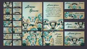 Sistema colorido del ejemplo de la tarjeta de la invitación del saludo Colección del concepto del diseño floral Imagenes de archivo