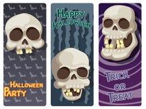 Sistema colorido del feliz Halloween con el cráneo y el fondo Fotografía de archivo libre de regalías
