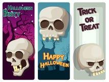 Sistema colorido del feliz Halloween con el cráneo y el fondo Imagen de archivo
