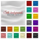 Sistema colorido del fondo del satén o de la seda Materia textil de la pañería del vector Imagen de archivo libre de regalías