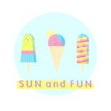 Sistema colorido del helado Foto de archivo libre de regalías