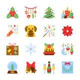 Sistema colorido del icono de Cristmas y del Año Nuevo stock de ilustración