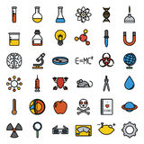 Sistema colorido del icono de la ciencia, vector stock de ilustración