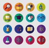 Sistema colorido del icono de la escuela Imagen de archivo libre de regalías