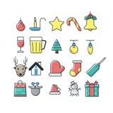 Sistema colorido del icono de la Navidad mínima fotos de archivo