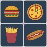 Sistema colorido del icono de los alimentos de preparación rápida stock de ilustración