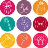Sistema colorido del icono de los elementos del feliz cumpleaños Foto de archivo