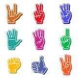 Sistema colorido del icono de los fingeres de la espuma Fotografía de archivo