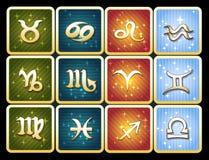 Sistema colorido del icono de muestras del zodiaco Fotografía de archivo libre de regalías