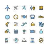 Sistema colorido del icono del esquema del aeropuerto Vector Fotografía de archivo libre de regalías