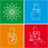 Sistema colorido del muñeco de nieve Foto de archivo libre de regalías