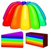 Sistema colorido del pudín de la jalea del arco iris de la historieta Imagenes de archivo