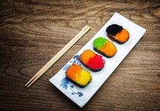 sistema colorido del sushi Fotografía de archivo