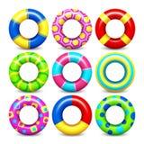 Sistema colorido del vector de los anillos de la nadada libre illustration