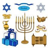 Sistema colorido del vector de los objetos de Jánuca Ejemplo judío de los días de fiesta libre illustration