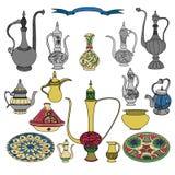 Sistema colorido del vector de loza ornamental árabe con las teteras, jarras, jarro ilustración del vector