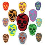Sistema colorido del vector del cráneo stock de ilustración