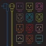 Sistema colorido del zócalo de poder Fotos de archivo libres de regalías