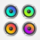 Sistema colorido detallado realista del altavoz de audio 3d Vector Fotos de archivo