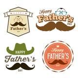 Sistema colorido feliz del logotipo de las etiquetas del día de padre libre illustration