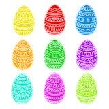 Sistema colorido feliz del vector de los huevos de pascua, colección del dibujo de la mano, Fotos de archivo libres de regalías