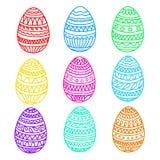 Sistema colorido feliz del vector de los huevos de pascua, colección del dibujo de la mano, Fotos de archivo