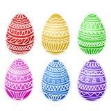 Sistema colorido feliz del vector de los huevos de pascua, colección del drenaje de la mano, sto Imagen de archivo
