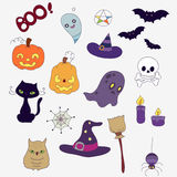 Sistema colorido para Halloween Fantasmas, calabazas, sombreros Fotografía de archivo