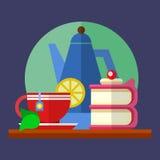 Sistema colorido plano del vector con una taza de té con el limón y té y torta Imagenes de archivo