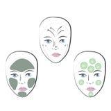Sistema común del vector de caras Foto de archivo libre de regalías