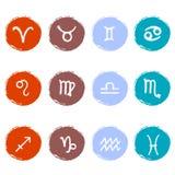 Sistema común del vector de iconos coloridos Muestras del zodiaco Foto de archivo