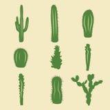 Sistema común del vector de iconos del cactus Foto de archivo libre de regalías