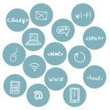 Sistema común del vector de iconos del web Foto de archivo libre de regalías