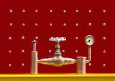 Sistema com uma válvula, um manômetro da pressão e uma válvula de segurança Imagens de Stock