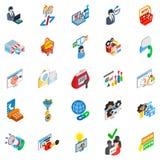 Sistema comercial en línea de los iconos, estilo isométrico stock de ilustración