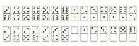 Sistema completo de dominó, ejemplo Foto de archivo