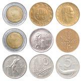 Sistema completo de monedas italianas imágenes de archivo libres de regalías