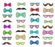 Sistema con los vidrios, bigote, corbata de lazo del día de padres ilustración del vector