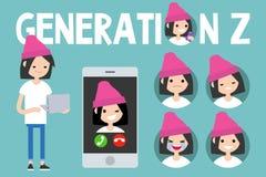 Sistema conceptual de la generación Z muestra, muchacha milenaria integral libre illustration
