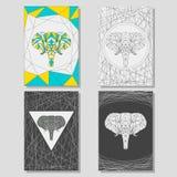 Sistema conceptual del gráfico con el elefante geométrico para el uso en el diseño para la tarjeta, el cartel, la bandera, el car Imagenes de archivo