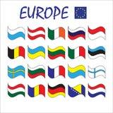 Sistema continente europeo del vector de las banderas nacionales del estado de los países Imagen de archivo libre de regalías